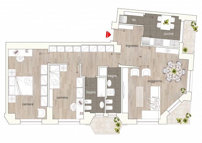 Brera Rent: Top floor two bedrooms flat along the Navigli