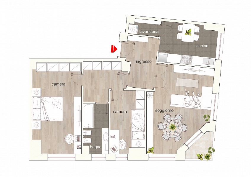 Large two bedrooms flat with balcony on the Navigli