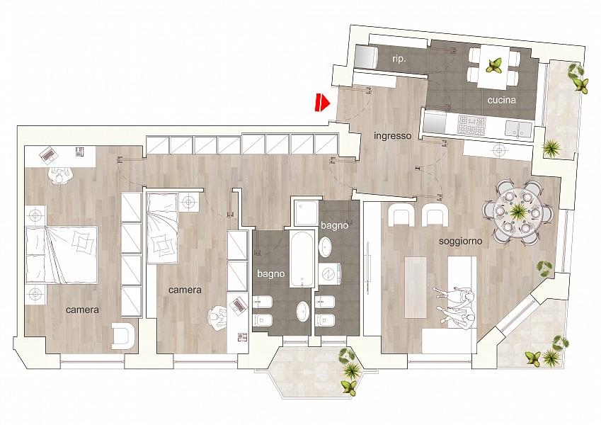 Top floor two bedrooms flat along the Navigli