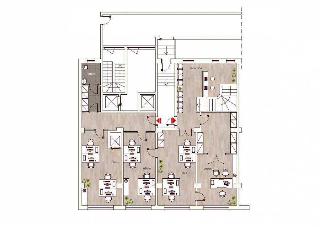 Office Rent Milan: Upper ground floor map